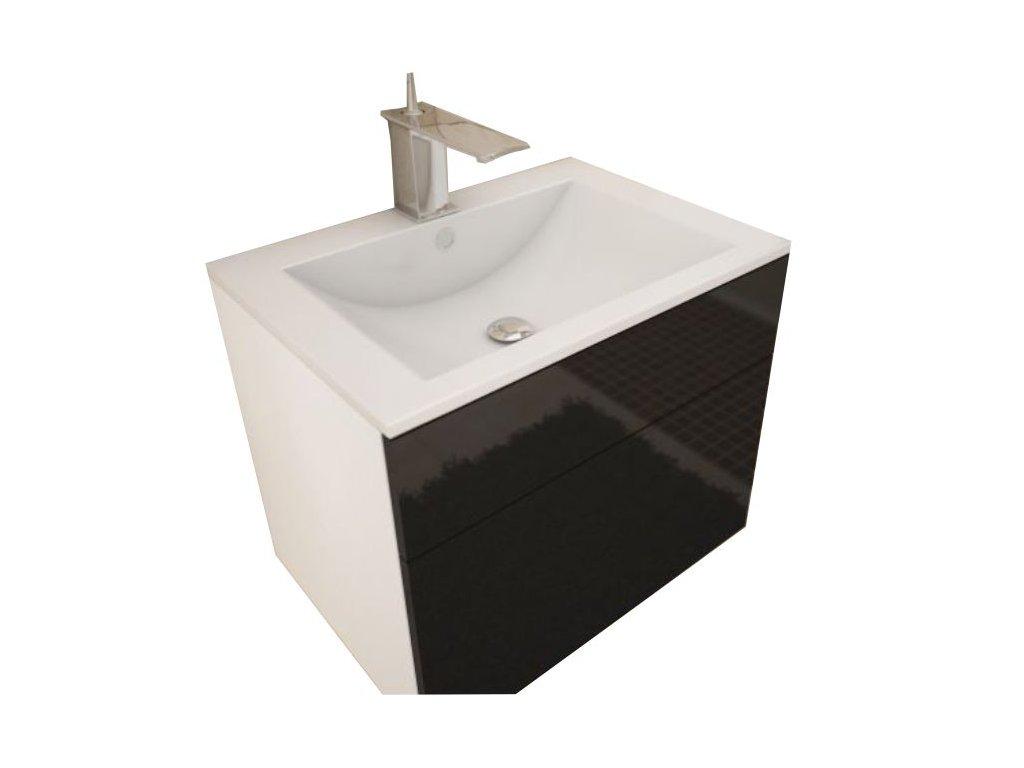 Bílá skříňka pod umyvadlo MASON BL13, černý vysoký lesk HG