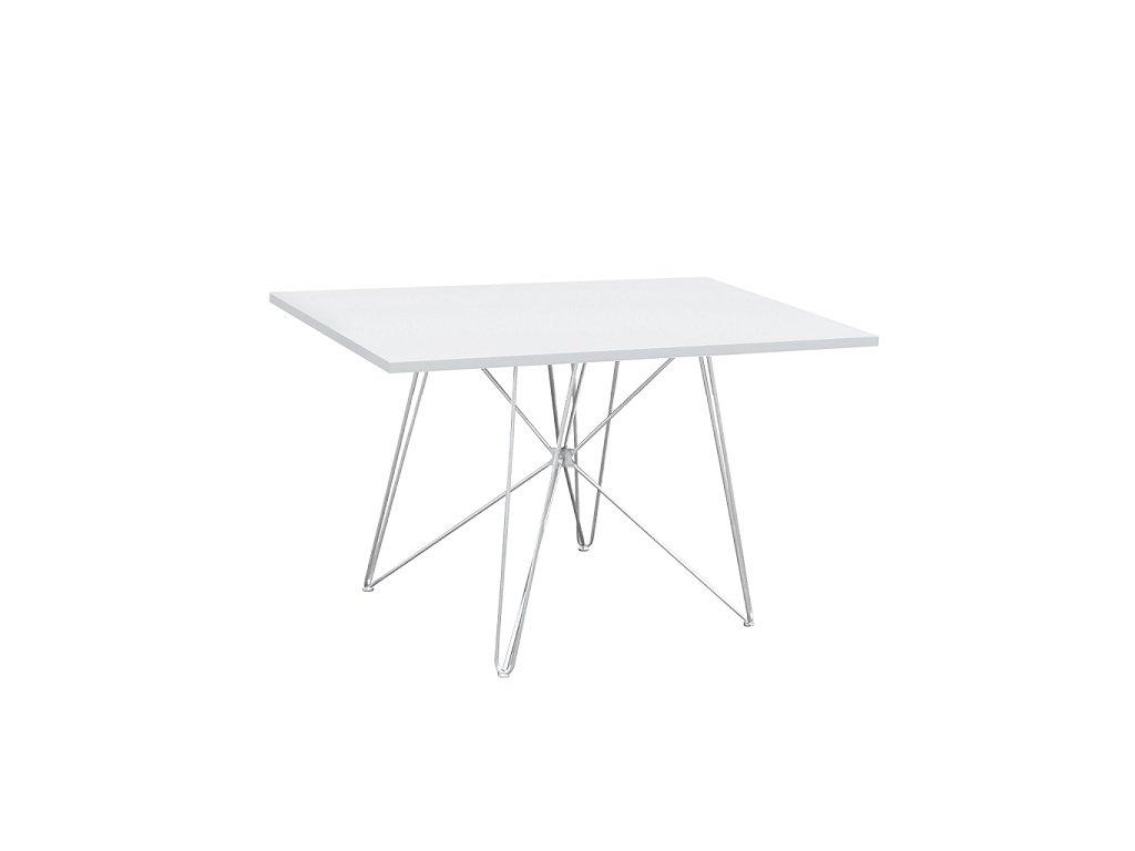 Jídelní stůl, MDF  bílá  HG lesk / chrom, ARTEM