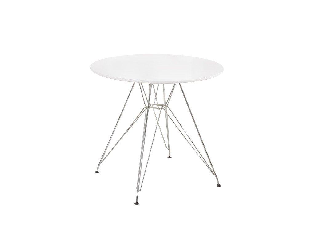 Bílý jídelní stůl RONDY, vysoký lesk HG