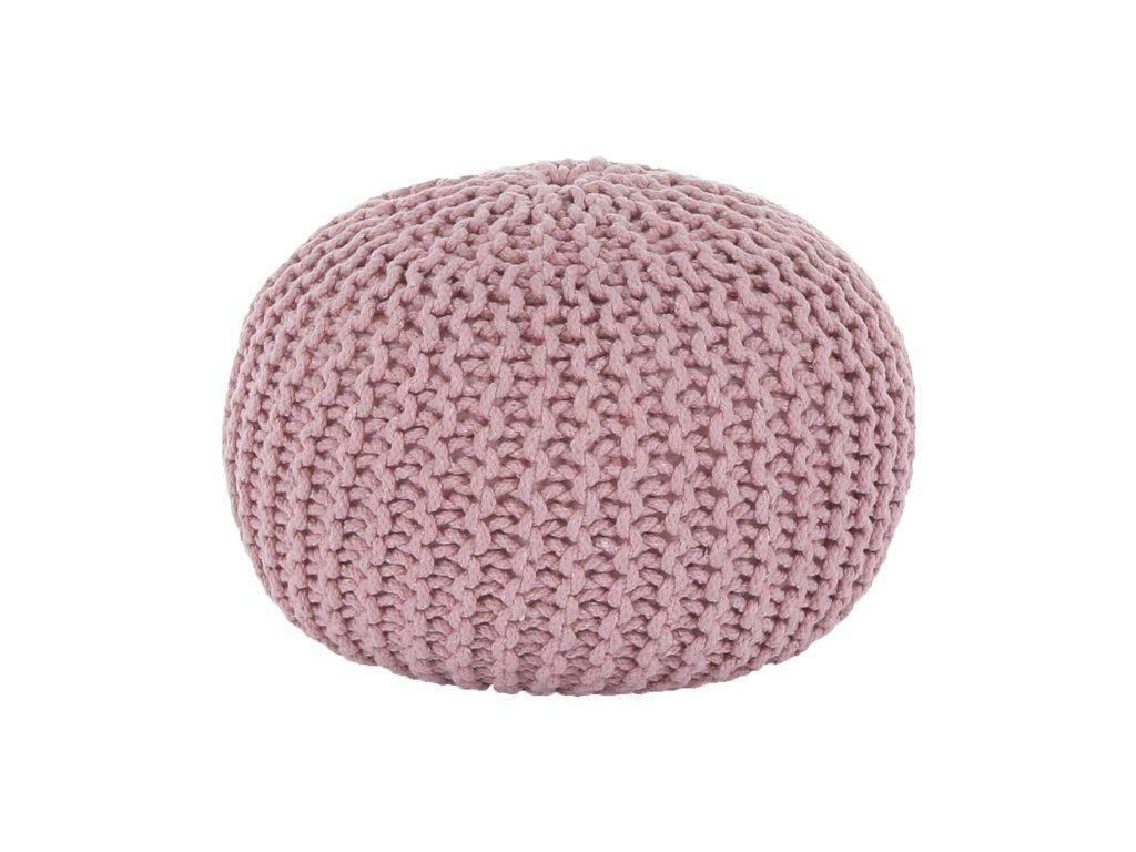 Růžový pletený taburet GOBI TYP 2