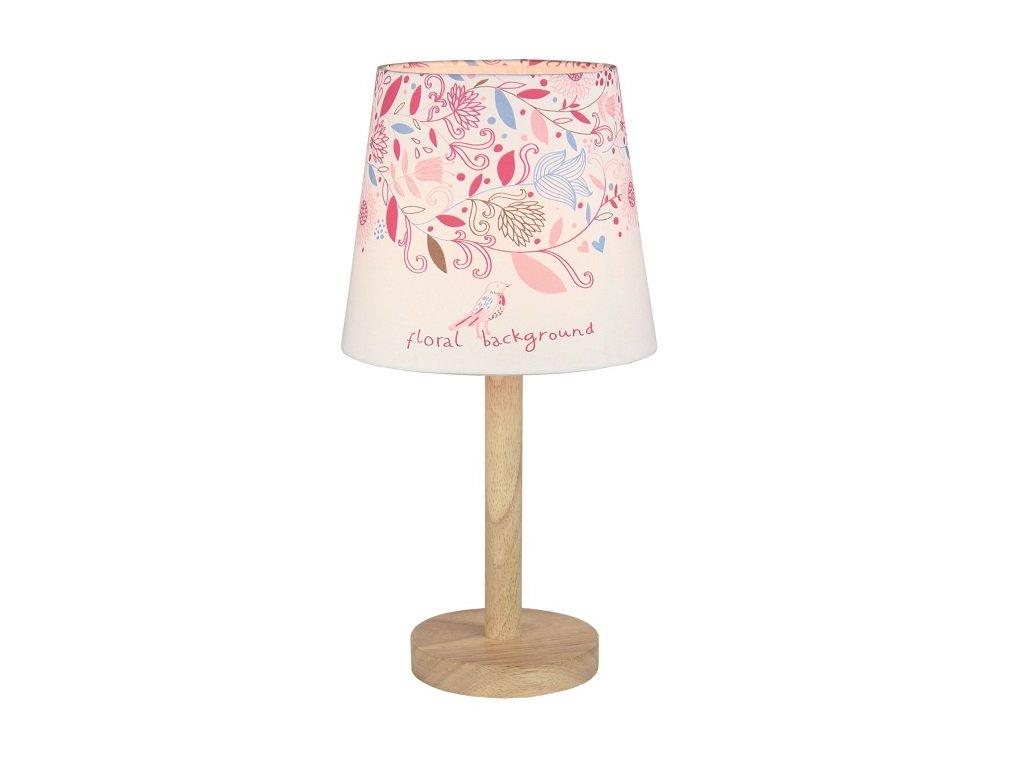 Růžová stolní lampa s květy QENNY TYP 8