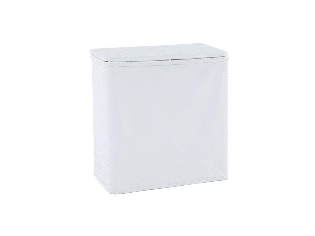 Koš na prádlo, bílá-krémová ekokůže, DORAN TYP 2