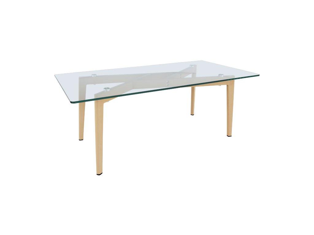 Jídelní stůl, sklo / kov s úpravou buk, PEDREK Typ 3