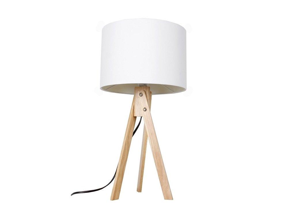 Bílá stolní lampa s dřevěnou trojnožkou LILA TYP 1