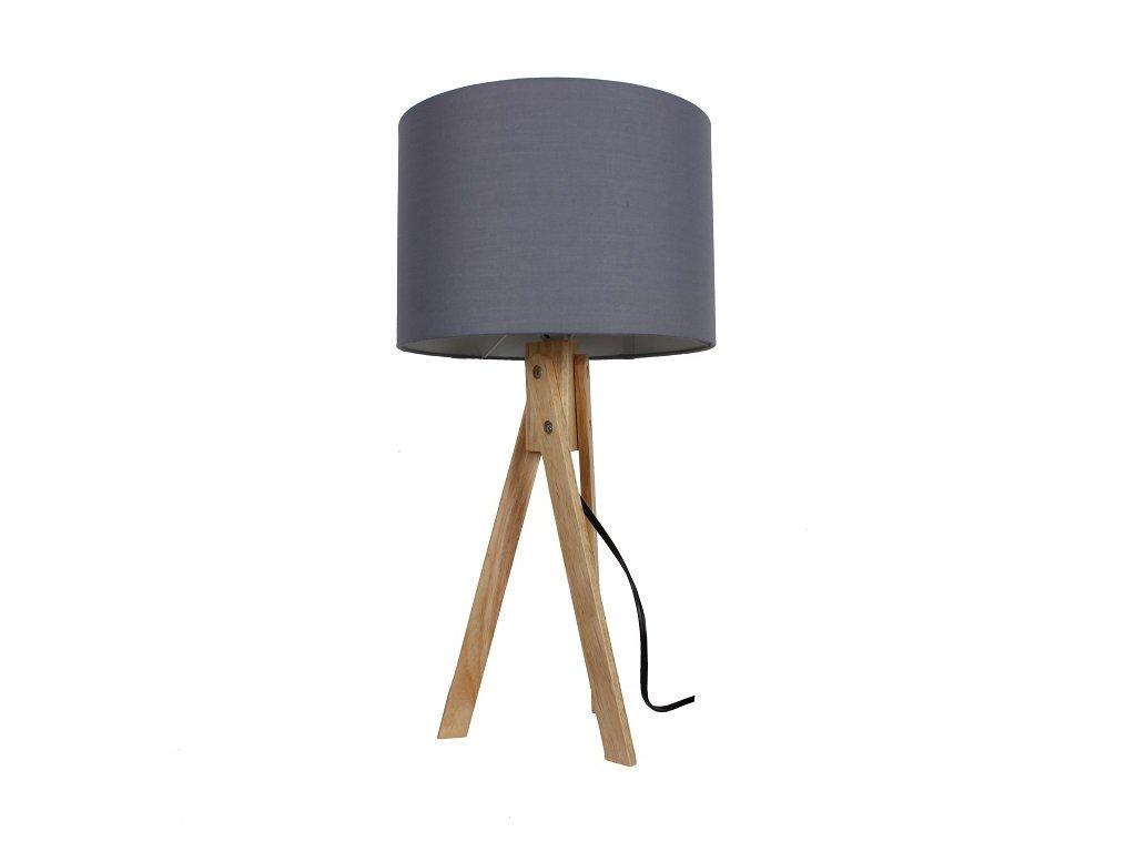 Šedá stolní lampa s dřevěnou trojnožkou LILA TYP 2