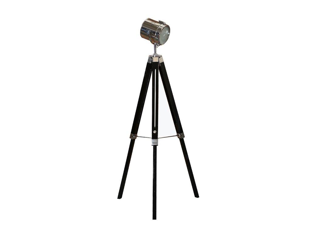 Černá stojací lampa s dřevěnou trojnožkou CINDY TYP 26
