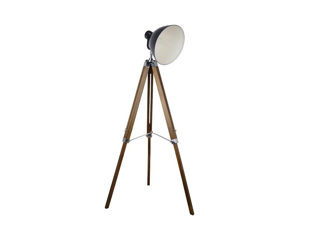 Stojací lampa, černý kov / dřevo, CINDA TYP 27