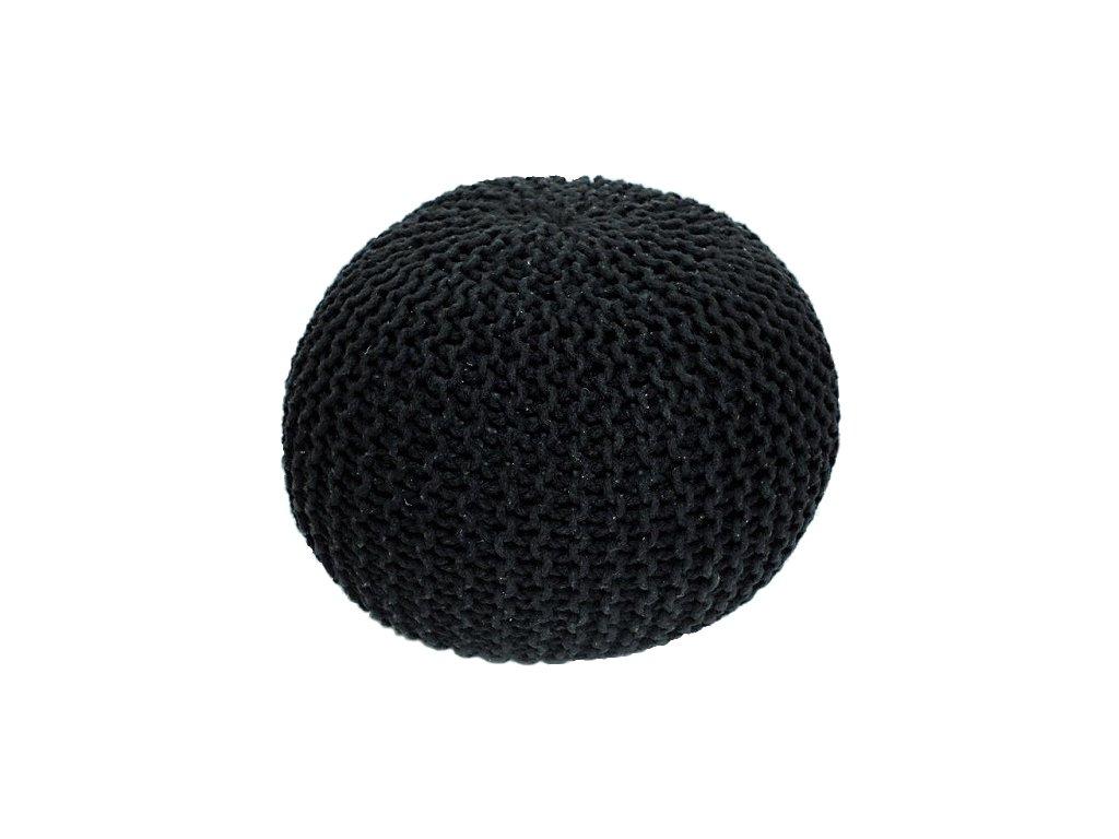 Černý pletený taburet GOBI TYP 2