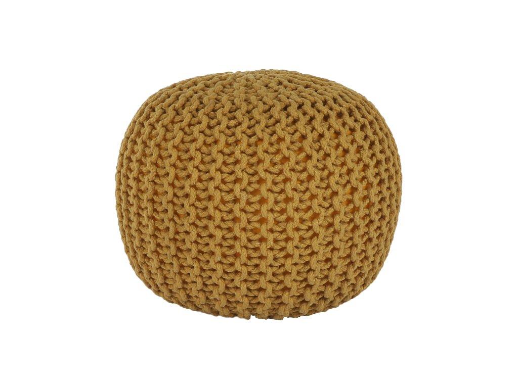 Hořčicový pletený taburet GOBI TYP 2
