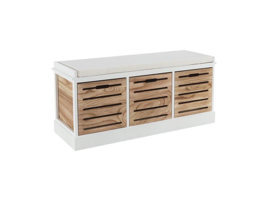 Bílo-medová lavice s třemi šuplíky TEDRA