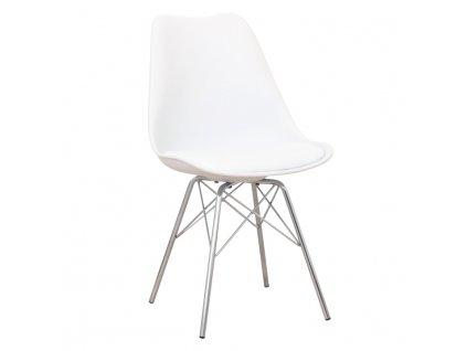 Židle, bílá / chrom, TAMORA