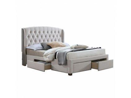 Krémová postel s úložným prostorem AKANA 180 x 200 cm