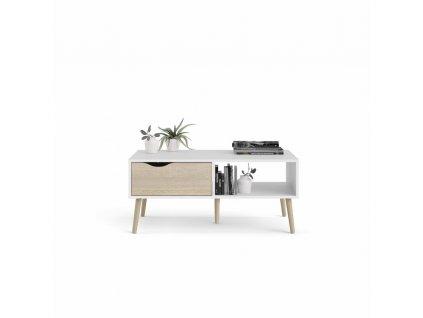 Bílý konferenční stolek s deskou v dekoru dub OSLO 75384