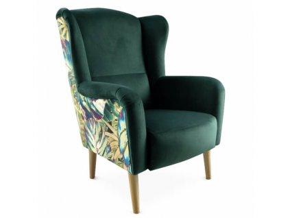 Smaragdové designové křeslo, vzor Jungle, BELEK