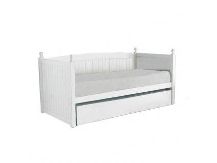 Bílá postel s přistýlkou GLAMIS 90 x 200 cm