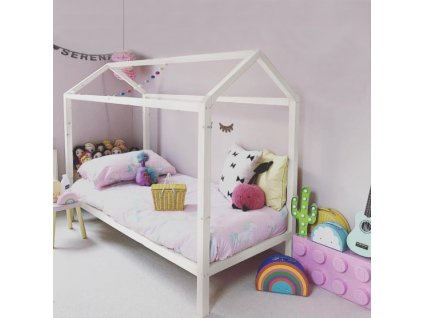 Bílá domečková Montessori postel IMPRES