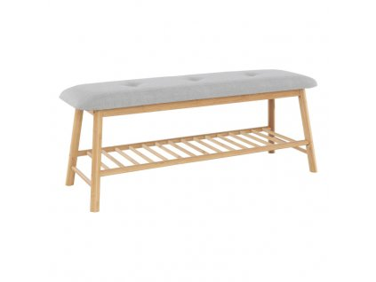 Šedá lavice s bambusovou konstrukcí LAVIDA TYP 3