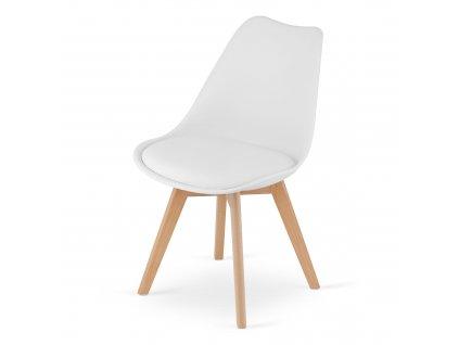 Židle, bílá / buk, BALI 2 NEW
