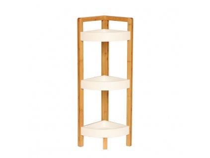 Rohový regál, bílá / přírodní bambus, FONG