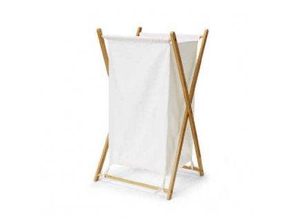 Koš na prádlo, lakovaný bambus / bílá, AVELINO