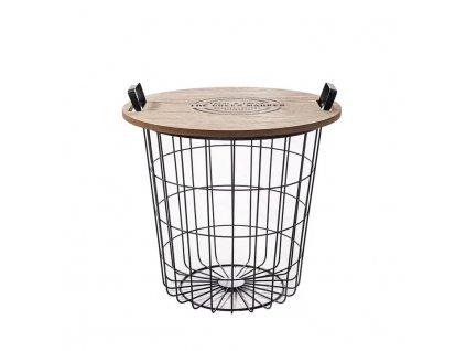 Příruční stolek, přírodní vzor / černá, NANDO
