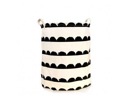 Bílý koš na prádlo s černým vzorem PLEJO TYP 2