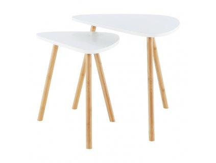 Sada dvou konferenčních stolků, bílá / přírodní, BISMAK