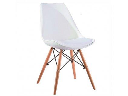 Židle, bílá / buk, KEMAL NEW