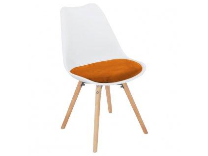 Židle, terakotta samet / bílý plast / buk, SEMER NEW