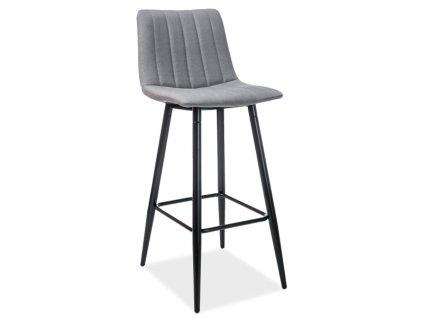 Barová stolička, černá / šedá, HOKER ALAN H-1