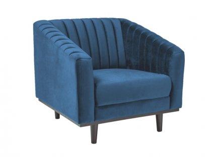 Relaxační křeslo, modrý samet / wenge, ASPREY 1 VELVET