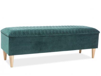 Zelená čalouněná lavice k posteli AZURRO VELVET 78