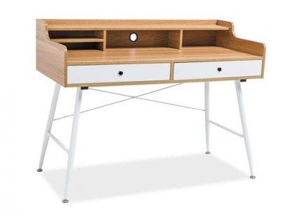 Bílý psací stůl s deskou v dekoru dub B-160
