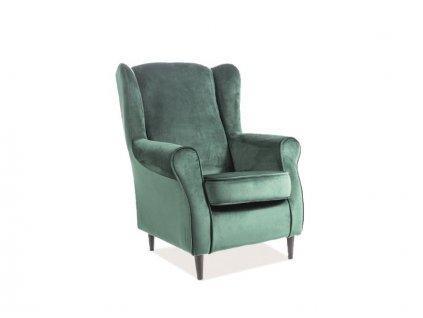 Relaxační křeslo, zelený samet / wenge, BARON VELVET