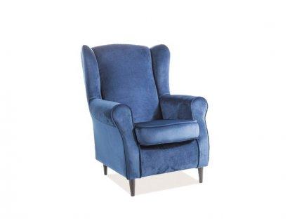 Relaxační křeslo, modrý samet / wenge, BARON VELVET