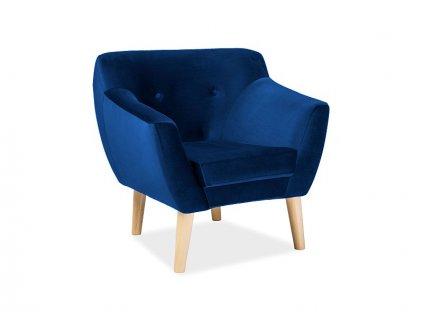 Relaxační křeslo, modrý samet / buk, BERGEN 1 VELVET