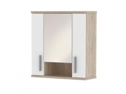 Bílá závěsná skříňka se zrcadlem v dekoru dub sonoma LESSY LI 01