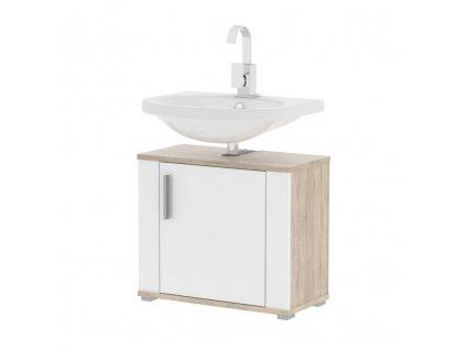 Bílá skříňka pod umyvadlo s dekorem dub sonoma LESSY LI 02