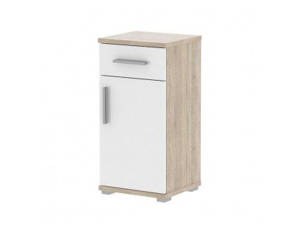 Bílá dolní koupelnová skříňka s dekorem dub sonoma LESSY LI 03