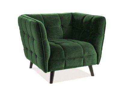 Zelené relaxační křeslo CASTELLO 1 VELVET