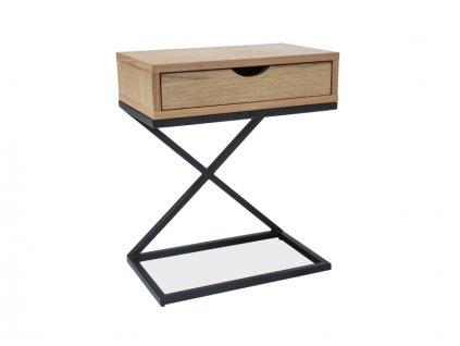 Příruční stolek, dub / černá, LIZ I 30X50