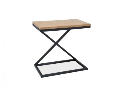Příruční stolek, dub / černá, LIZ II 30X50