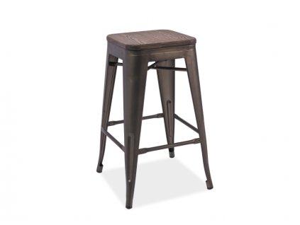 Barová židle z masivu v dekoru ořech HOKER LONG