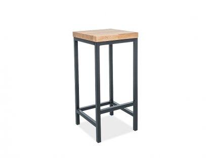 Černá barová židle s dubovou deskou HOKER METRO H-1