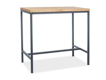 Barový stolek, dub / černá, METRO 110x60x100