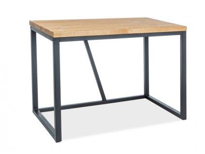 Černý psací stůl s dubovou deskou SILVIO 110X60X75