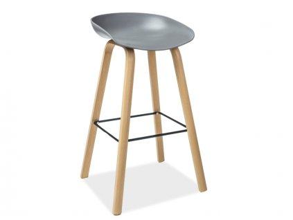Barová stolička, dub / šedá, HOKER STING
