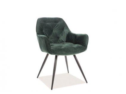 Židle, zelený samet / černá, CHERRY VELVET
