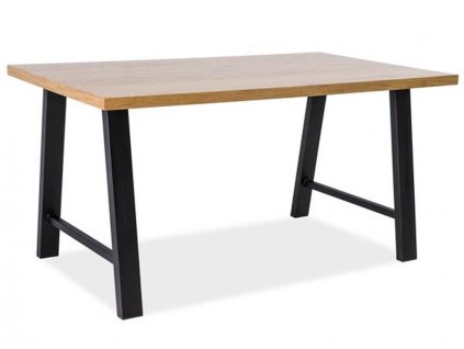 Jídelní stůl, přírodní dub / černá, ABRAMO 180x90