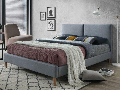 Šedá dvoulůžková postel ACOMA 160 x 200 cm